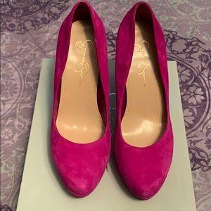 Jessica Simpson pink suede pumps